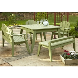 Uwharrie Chair Plaza Dining Set w/ Benches - UW-PLAZA-SET1