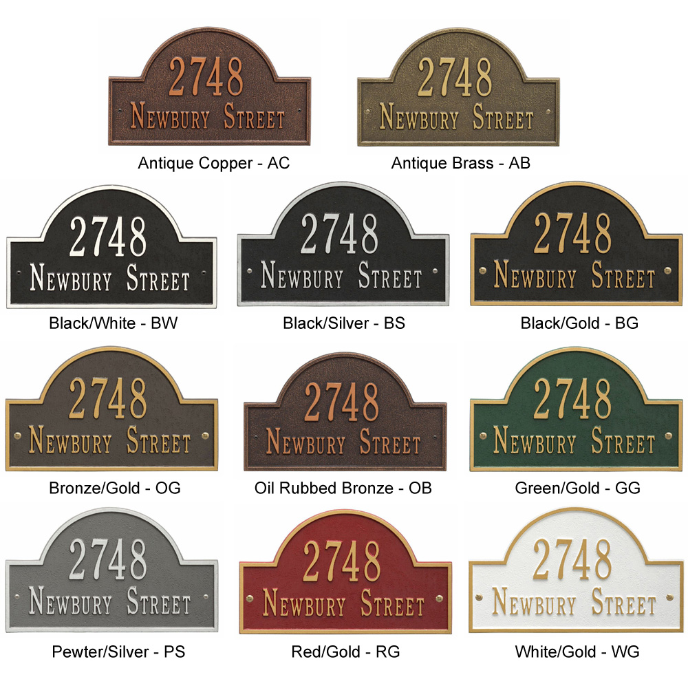 whitehall address plaque colors