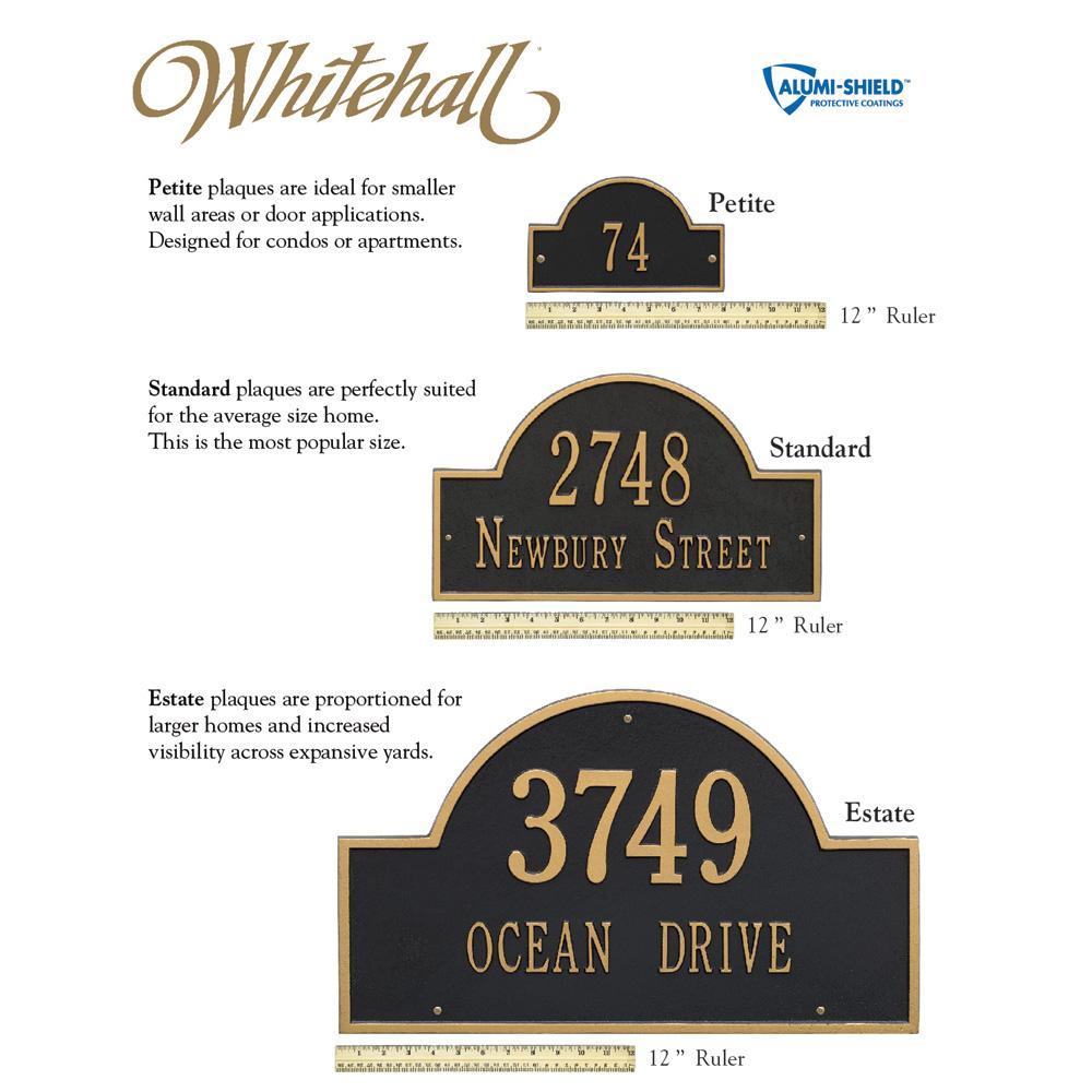 whitehall address plaque sizes