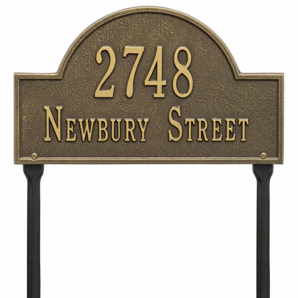 Whitehall Arch Marker Standard Lawn Address Plaque Two