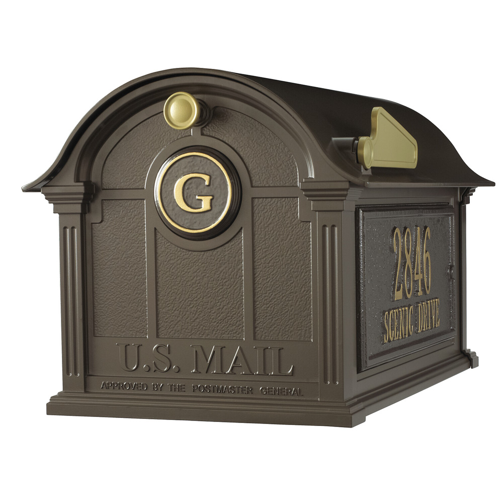 Whitehall Balmoral Mailbox Side Plaques and Monogram Package in Bronze |  16366