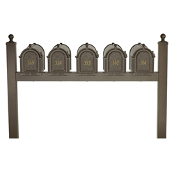 Whitehall Capitol Five Mailbox Package in Bronze