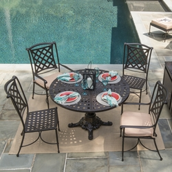 Windham Kin Cast Aluminum Patio Dining Set With Pedestal Table Wn