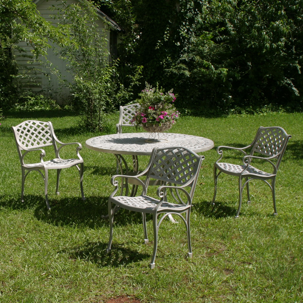 Windham Meridian Cast Aluminum Patio Dining Set With 48 Table WN MERI
