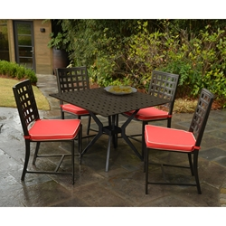 Windham Metro Classic Square Cast Aluminum Dining Set for 4 - WN-METRO-SET4