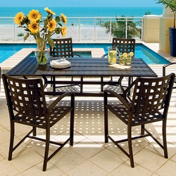 Windham Metro Classic Rectangle Cast Aluminum Dining Set for 4 - WN-METRO-SET5