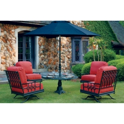 Windham Provence Cast Aluminum Spring Club Chairs with Pedestal Table - WN-PROVENCE-SET3