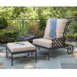 Windham Savannah Reclining Cast Aluminum Club Chair with Ottoman Set - WN-SAVANNAH-SET4