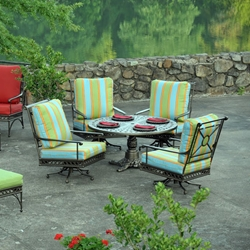Windham Windsor Cast Aluminum Patio Set with Swivel Club Chairs - WN-WINDSOR-SET1