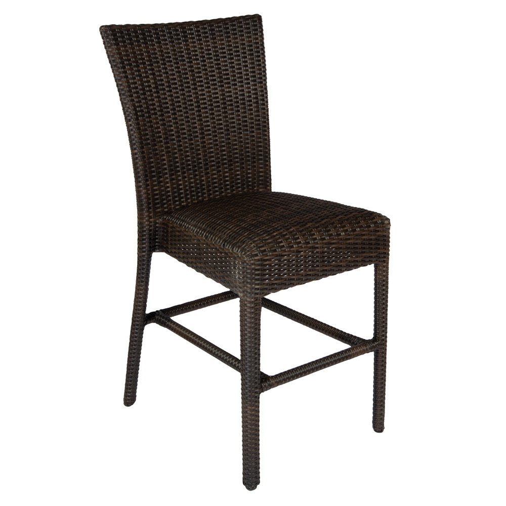 Woodard All Weather Wicker Armless Counter Stool with Padded Seat - S593093