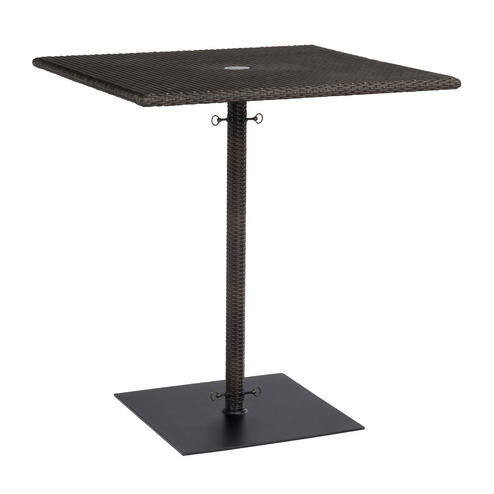 Woodard All Weather Wicker Square Umbrella Bar Height Table with Weighted Base - S593936