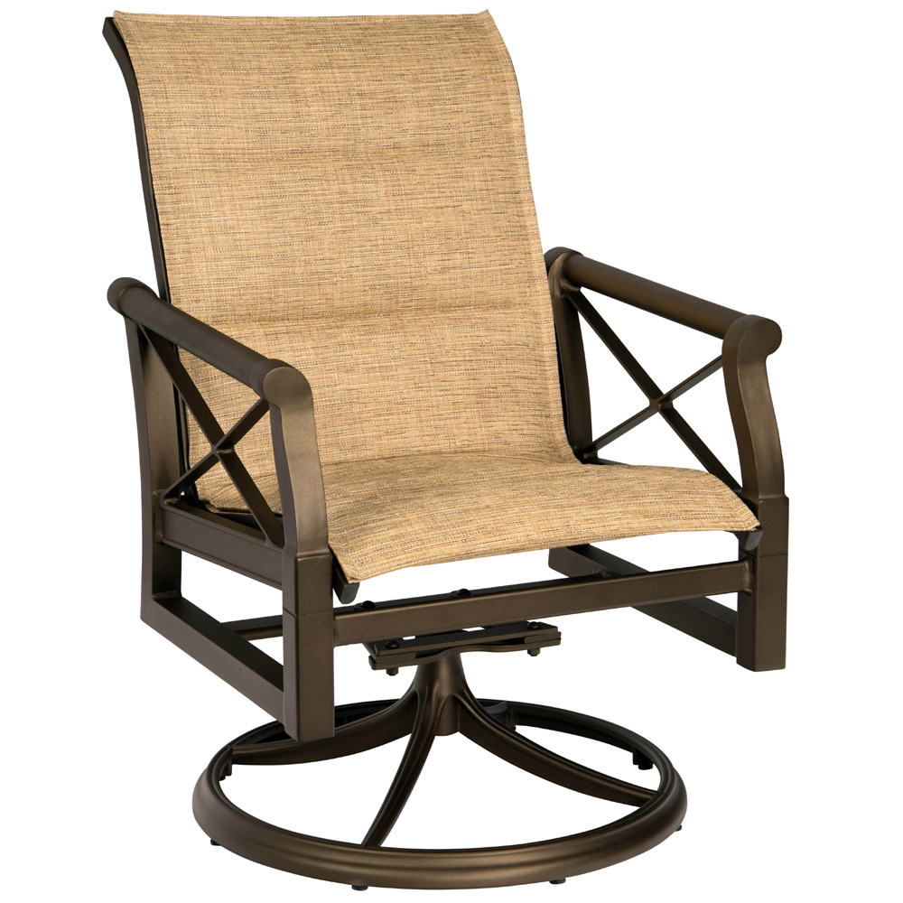 Woodard Andover Padded Sling Swivel Rocker Dining Arm Chair - 3Q0572