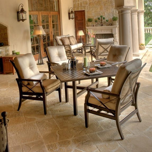 Woodard Andover Cushion 5 Piece Patio Dining Set Wd