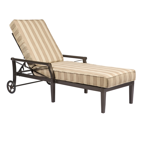 Woodard andover cushion adjustable chaise lounge 51m470 for Chaise lounge cushions