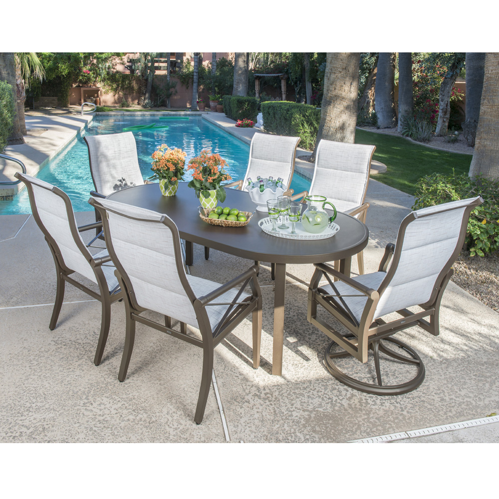 Woodard Sling Patio Furniture.Woodard Andover Padded Sling Dining Set For 6 Wd Andover Set4