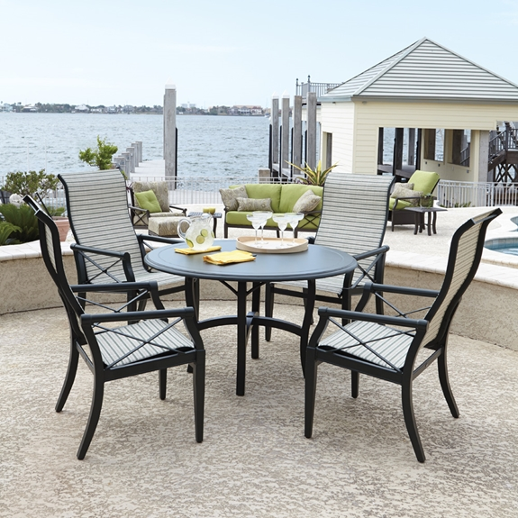 Woodard Andover Sling High Back Dining Set With Cast Top