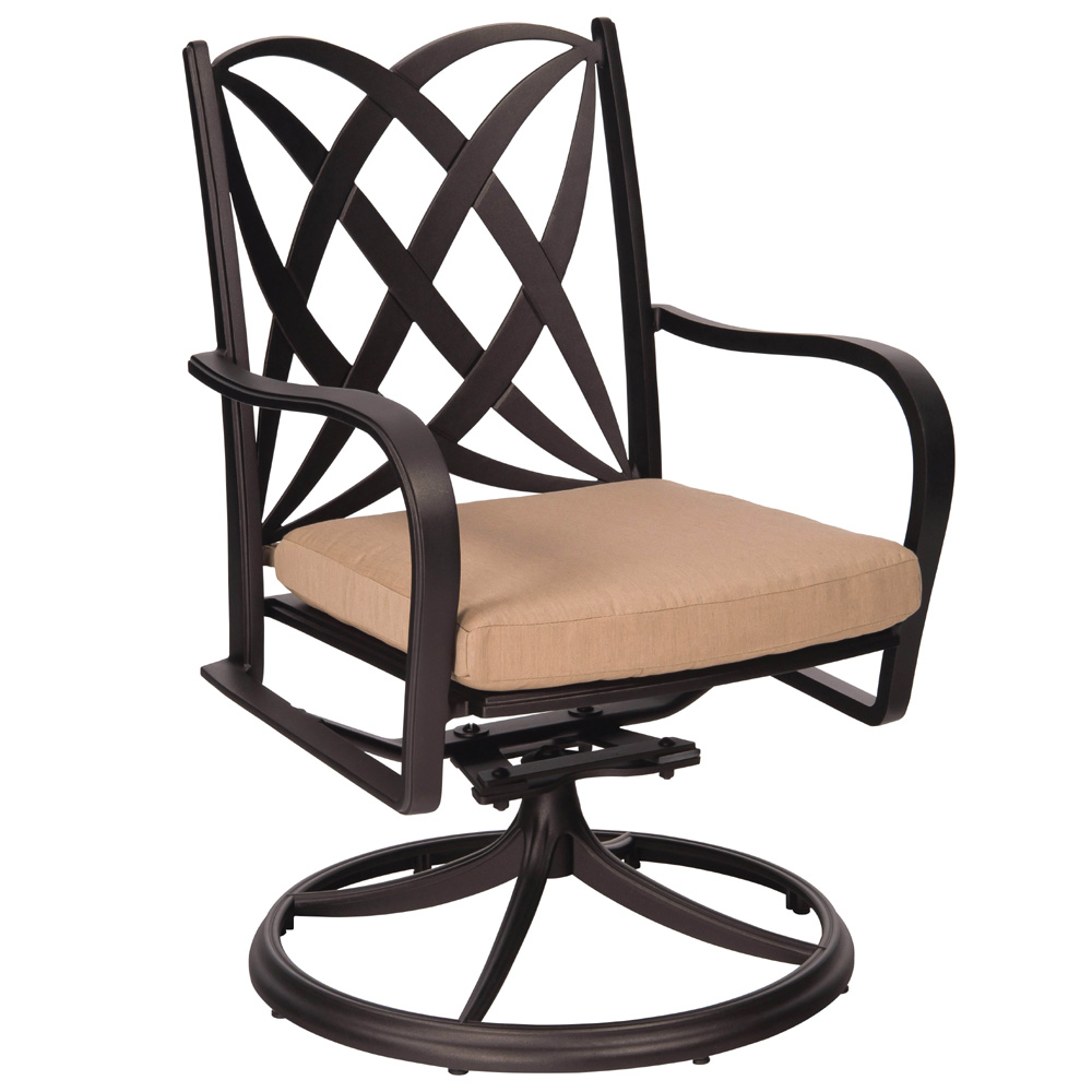 Woodard Apollo Swivel Rocker Dining Arm Chair with Cushion - 7U0472ST