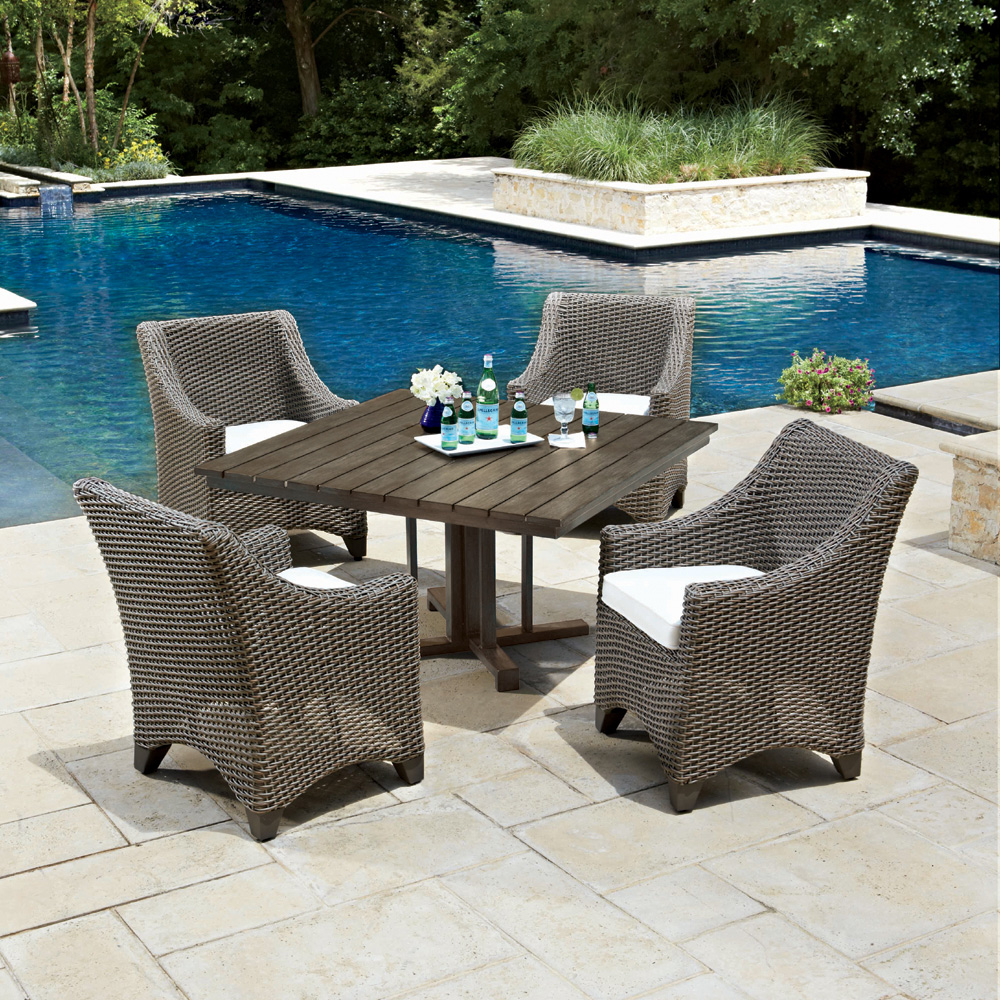 Woodard Augusta 5 Piece Wicker Patio Dining Set