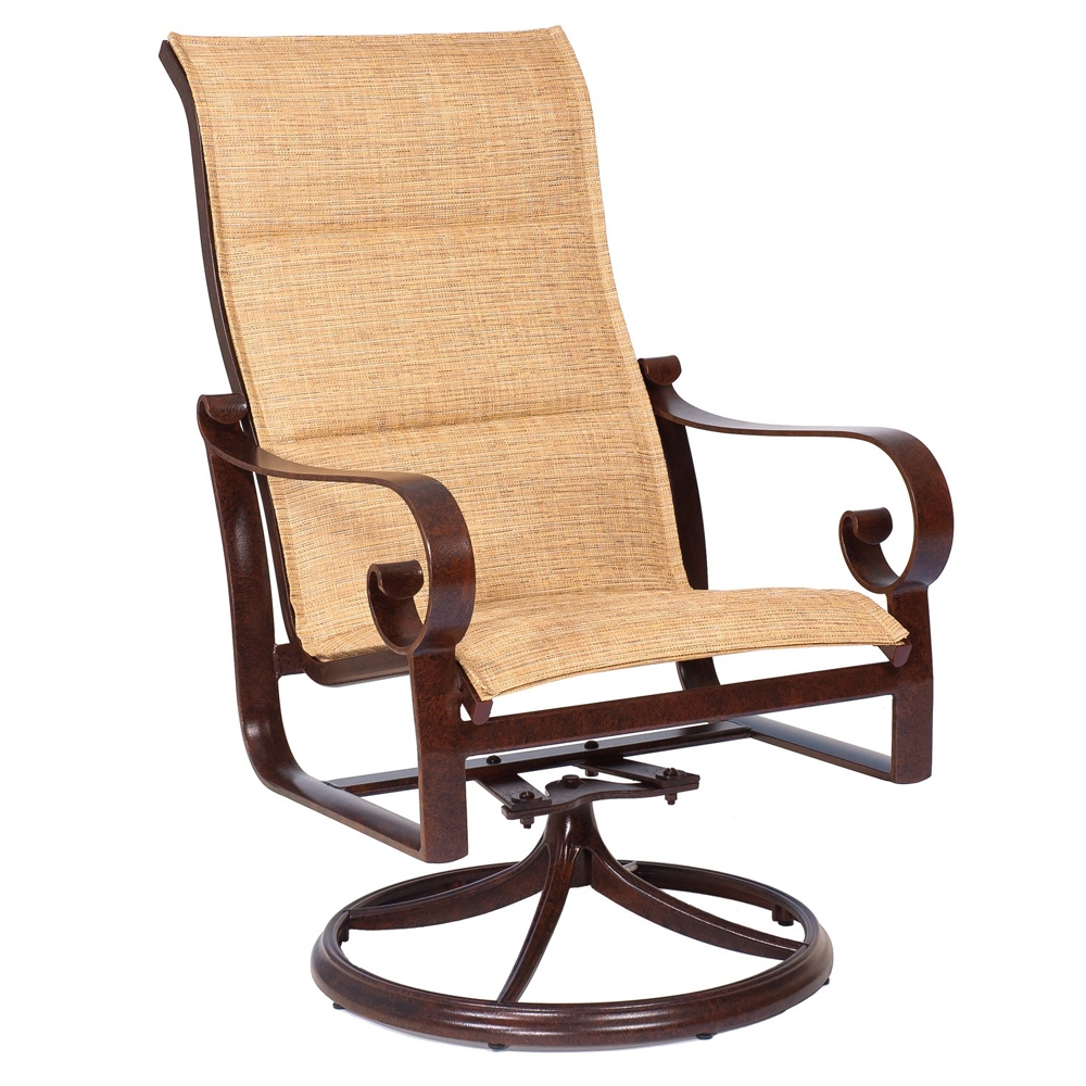 Woodard Belden Padded Sling High Back Swivel Rocker - 620566