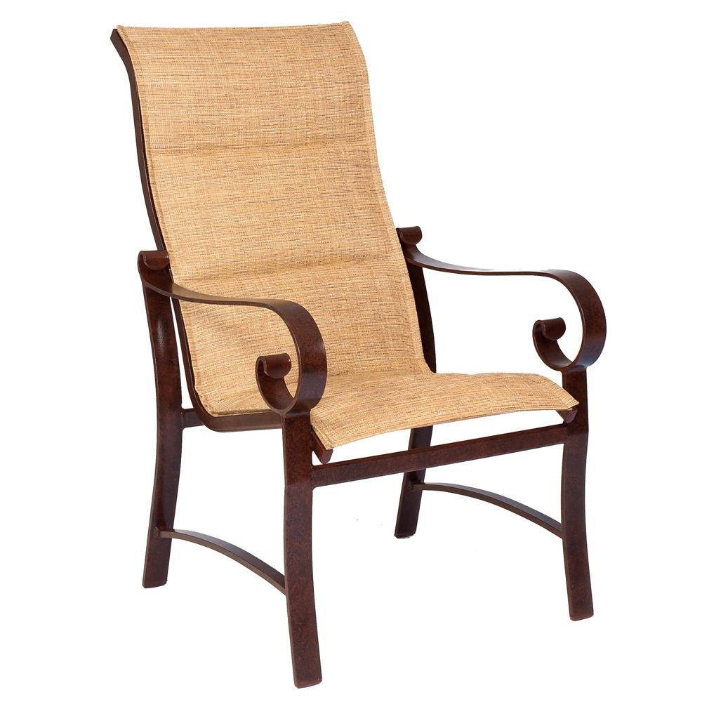 woodard belden padded sling high back dining arm chair