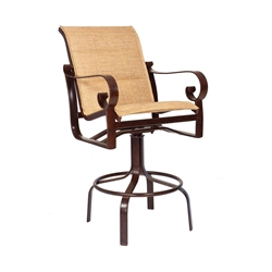 Woodard Belden Padded Sling Swivel Bar Stool - 62H568