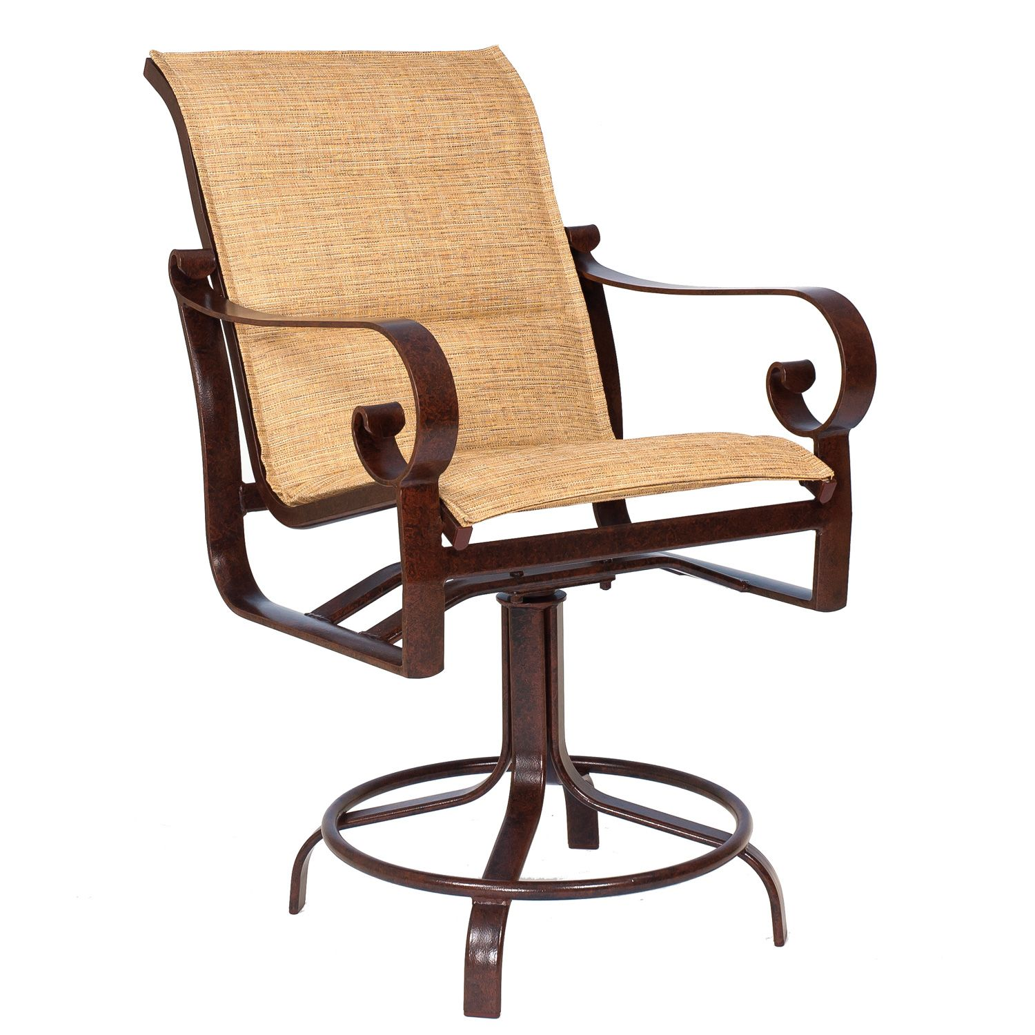 Woodard Belden Padded Sling Swivel Counter Stool - 62H569