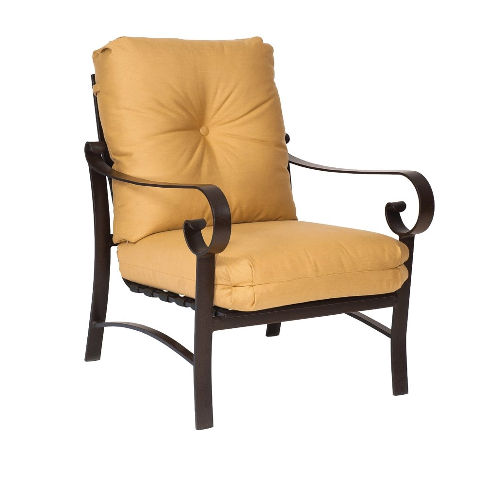 Woodard belden cushion stationary lounge chair 690406m for Woodard outdoor furniture