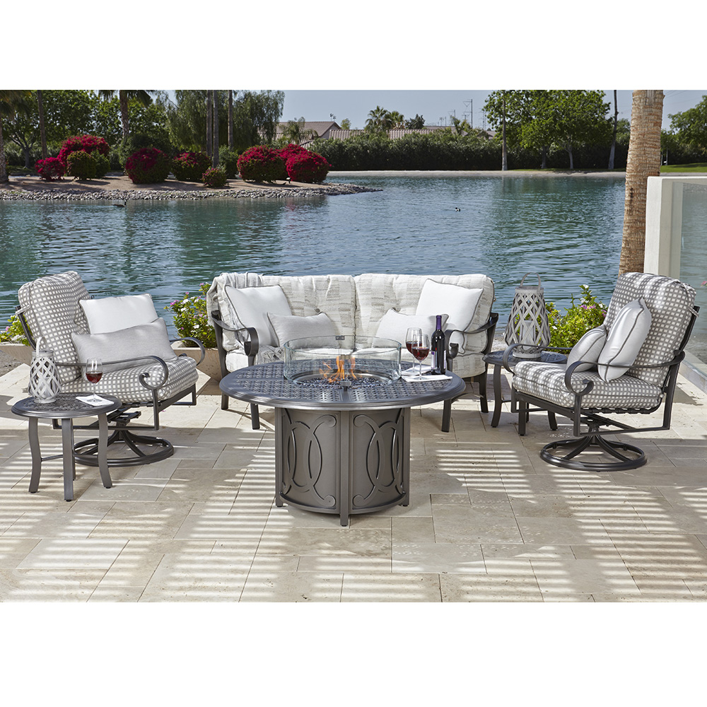 Woodard Belden Fire Table Set with Crescent Loveseat and Swivel Rocker Chairs - WD-BELDEN-SET1