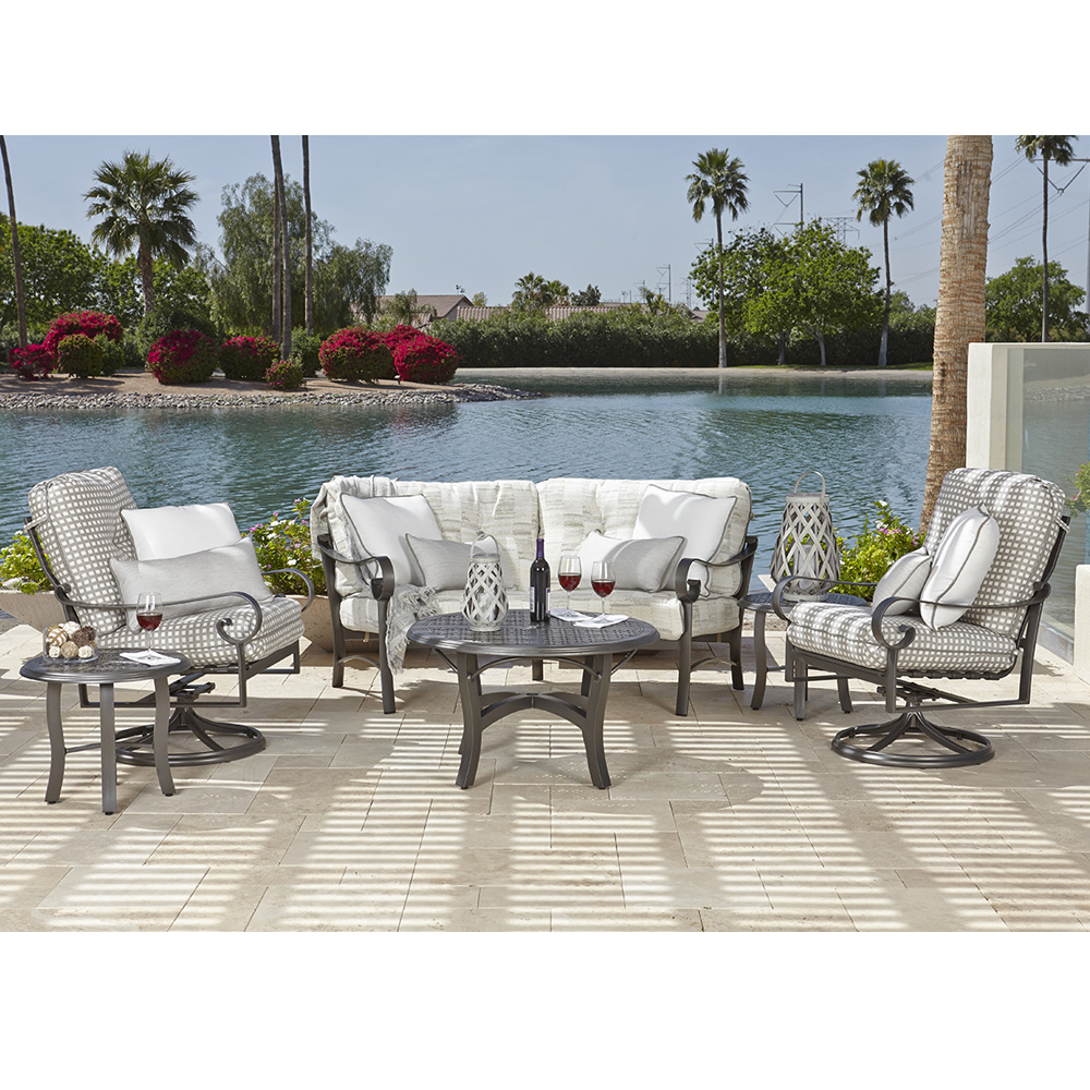 Woodard Belden Crescent Loveseat and Swivel Rocker Chair Set - WD-BELDEN-SET3