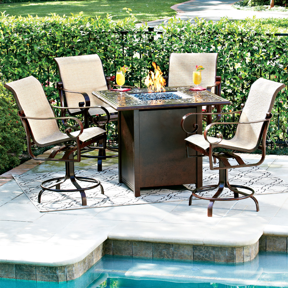 Woodard Belden Hi-Top Fire Pit Set with Swivel Counter Chairs | WD ...