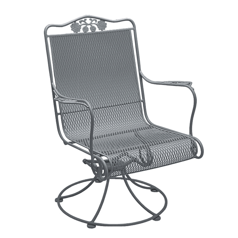 Woodard Briarwood Wrought Iron High Back Swivel Rocker