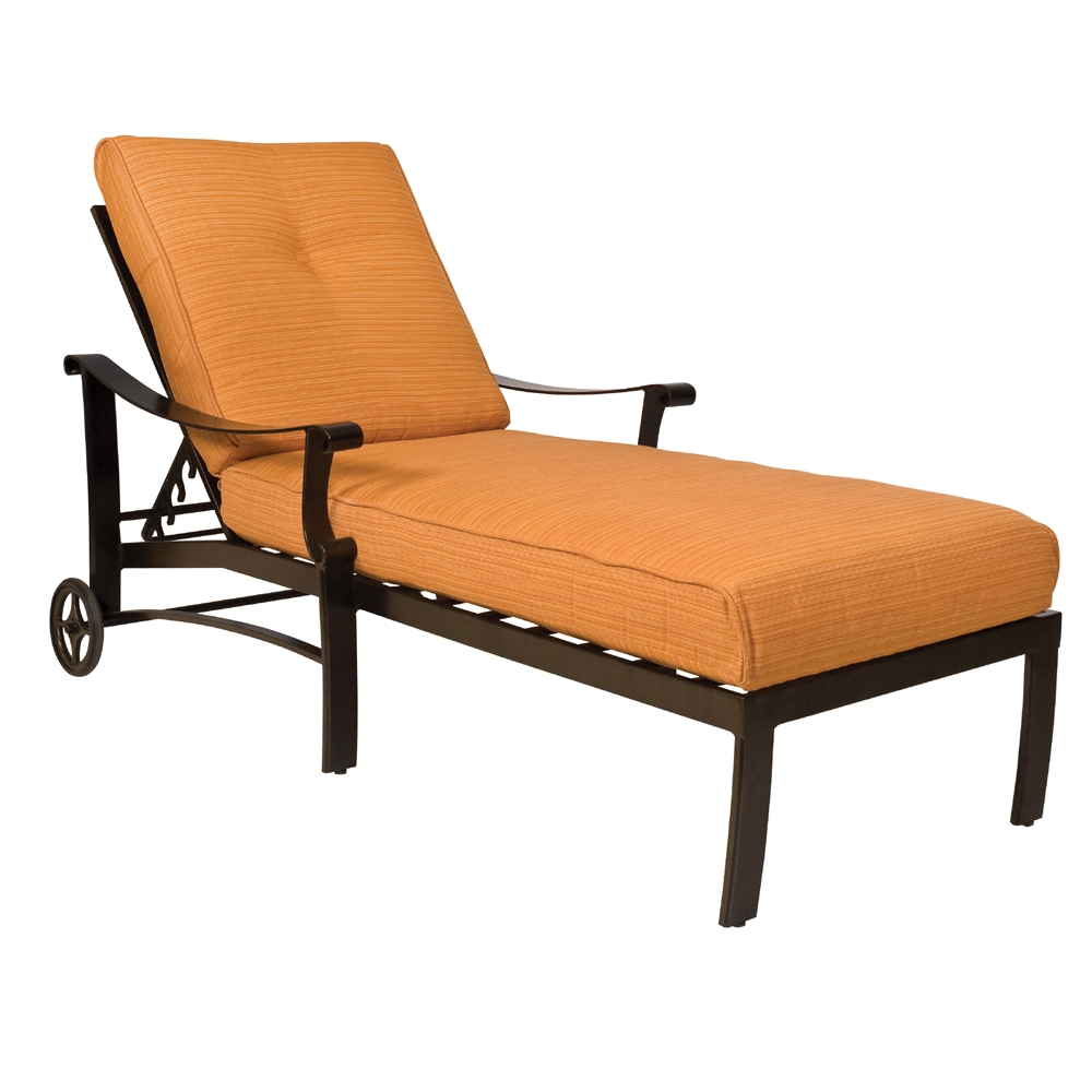 Woodard bungalow cushion adjustable chaise lounge 8q0470 for Woodard outdoor furniture