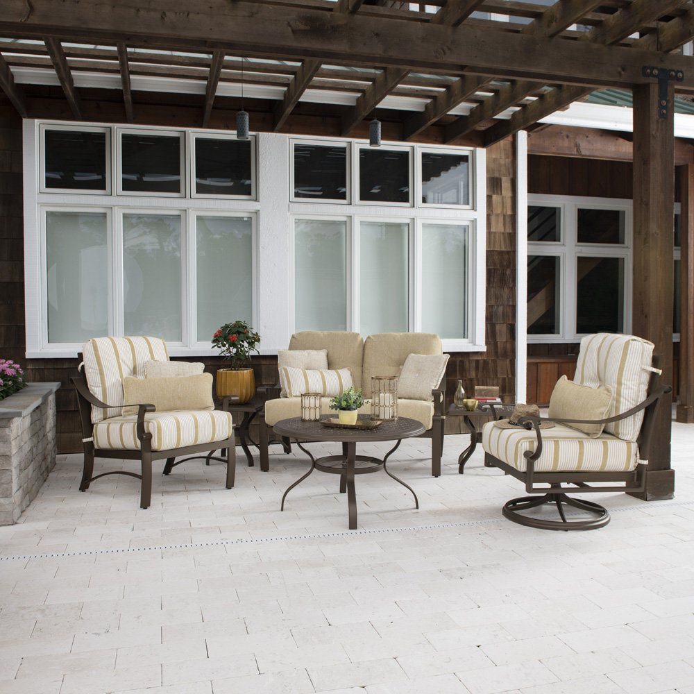 Woodard Bungalow Cushion Aluminum Loveseat and Lounge Chair Patio Set - WD-BUNGALOW-SET3
