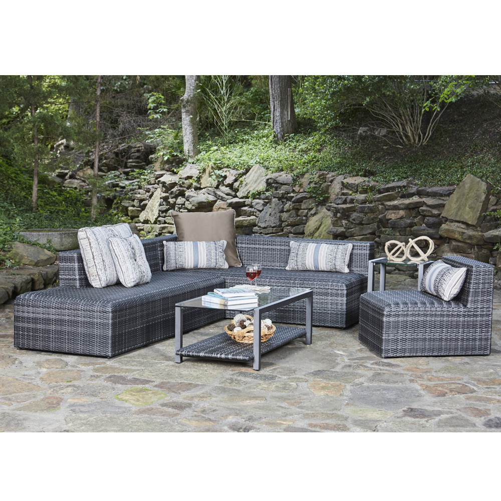 Woodard Canaveral Eden Modern Wicker Sectional Sofa And Chair Set Wd Set3
