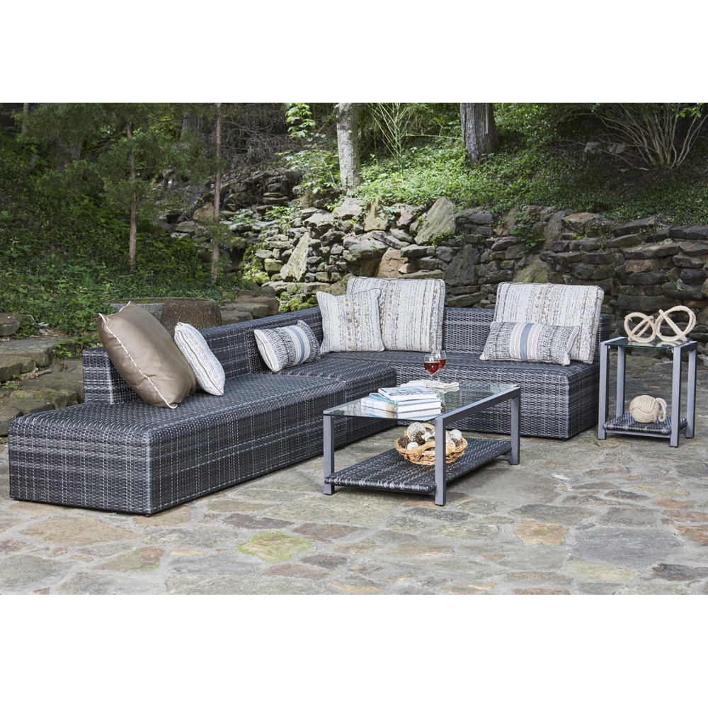Woodard Canaveral Eden Modern Wicker L-Sectional Sofa - WD-CANAVERAL-SET4