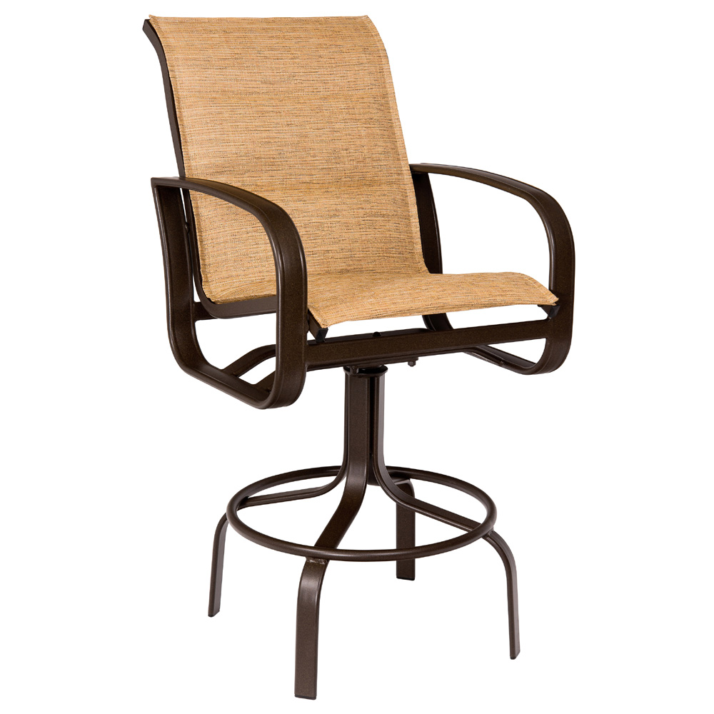 Woodard Cayman Isle Padded Sling Swivel Bar Stool 2fh568