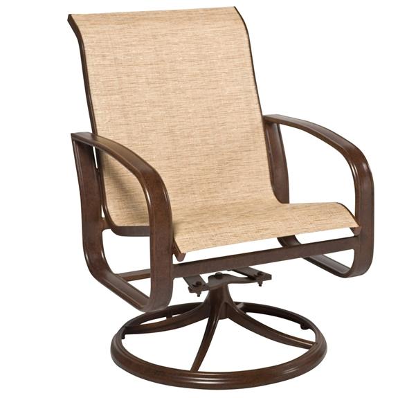 Woodard Cayman Isle Sling Swivel Rocker Dining Arm Chair