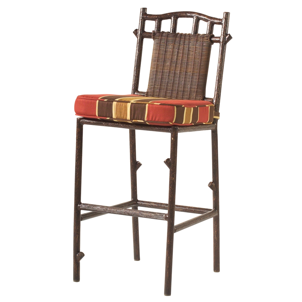 Woodard Chatham Run Rustic Lodge Wicker Armless Bar Stool