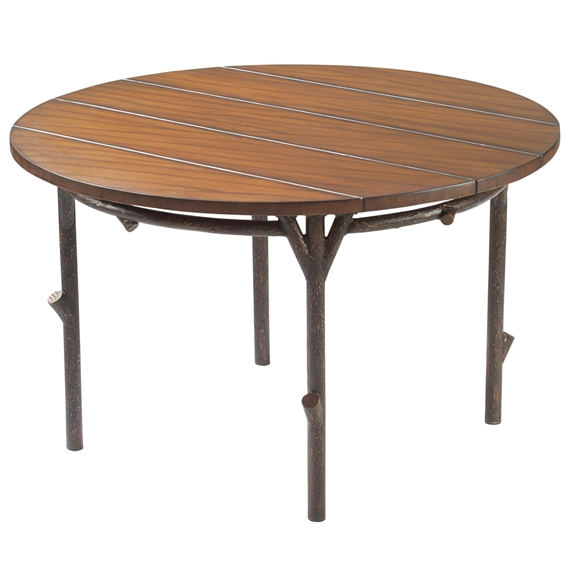 Woodard chatham run 48 round rustic lodge dining table for Table 52 botswana