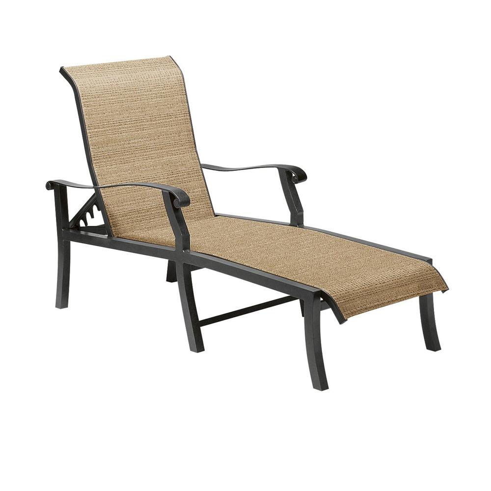 Woodard cortland sling adjustable chaise lounge 42h470 for Woodard patio furniture