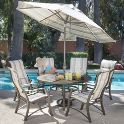 Woodard Cortland Padded Sling Outdoor Dining Set for 6 - WD-CORTLAND-SET6