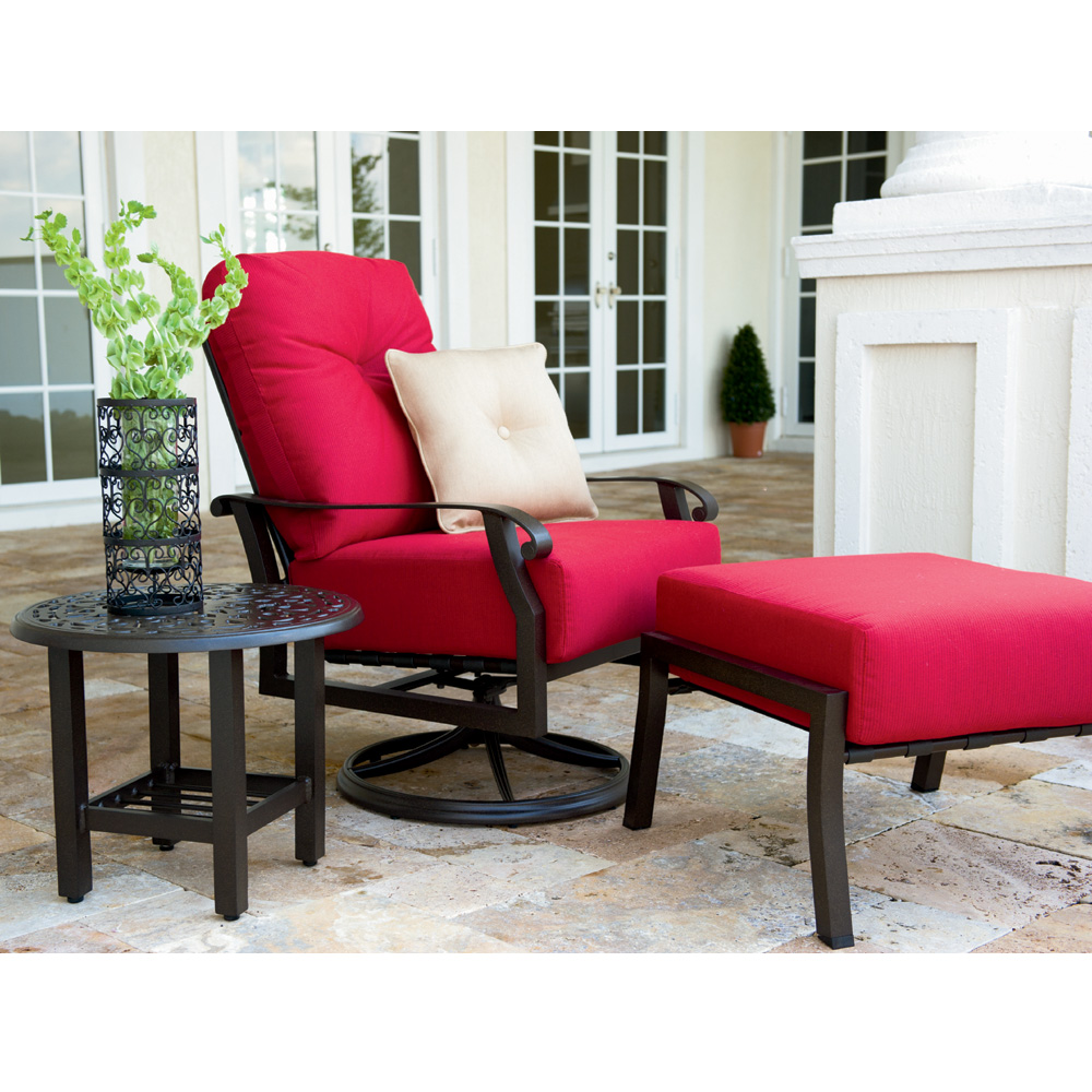 Woodard Cortland Cushion Swivel Rocking Lounge Chair Set   WD CORTLAND SET2