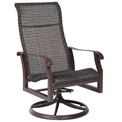Woodard Cortland Woven High Back Swivel Rocker Dining Arm Chair - 5V0488