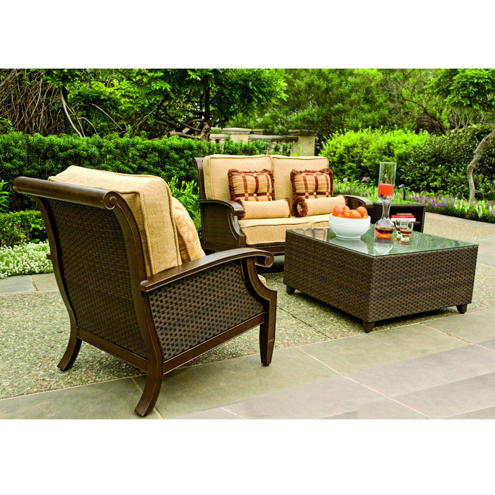 Woodard Del Cristo 4 Piece Wicker Patio Set