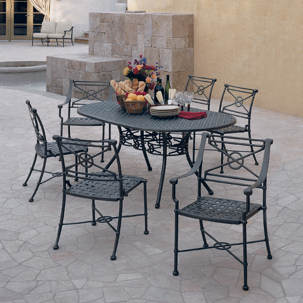 Woodard Delphi Outdoor Dining Set For 6 With Oval Table   WD DELPHI SET4