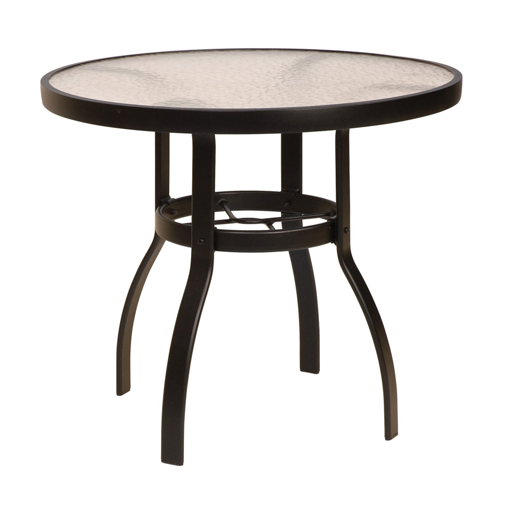 Woodard Deluxe 30u0026quot; Round Glass Top Dining Table : 826130W