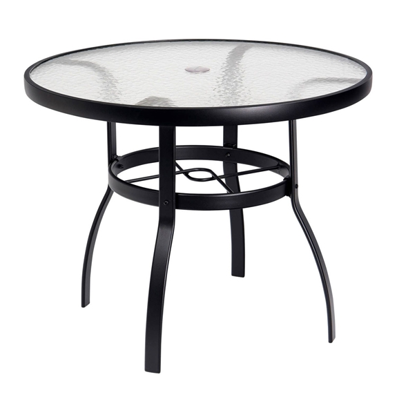 Woodard deluxe 36 round glass top dining table 826636w for Table 52 botswana