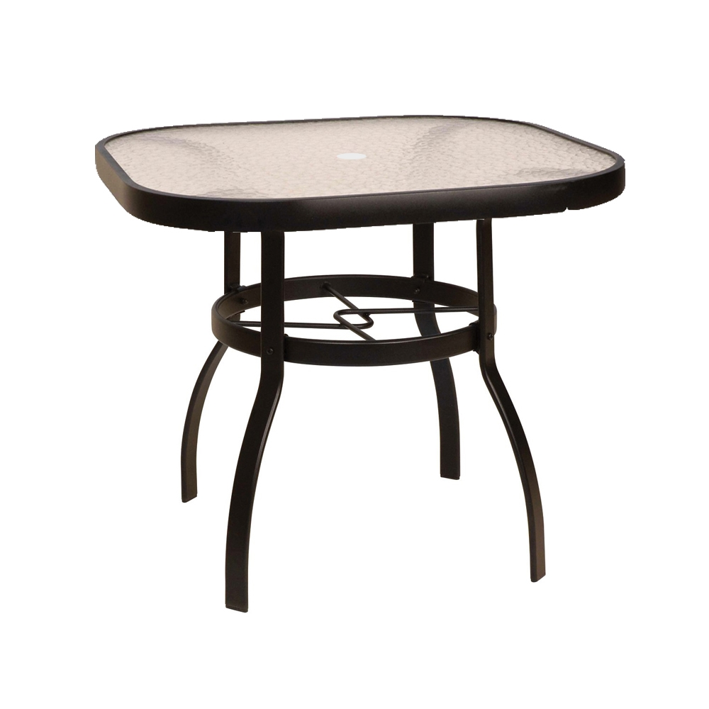 Woodard deluxe 36 square glass top dining table 826137w for Square glass dining table
