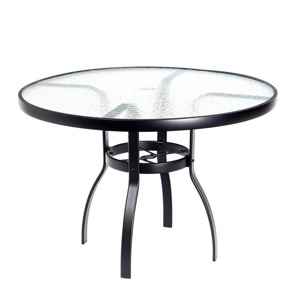 Woodard deluxe 42 round glass top dining table 826142w for 42 inch round dining table