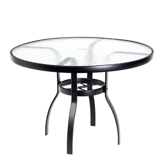 Woodard deluxe 42 round glass top dining table 826142w for Table 52 botswana